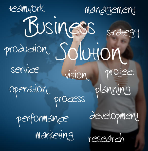 business woman writing business solution concept