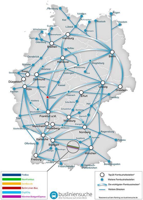 Karte Busliniensuche Stadt Giessen