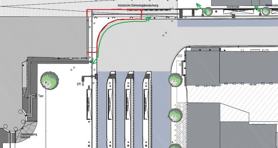 Bahnhofsvorplatz - Fußgänger Bussteig