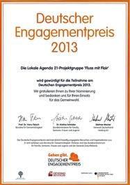 """Deutscher Engagementpreis 2013 - Nominierungsurkunde LA21-Projektgruppe """"Fluss mit Flair"""""""