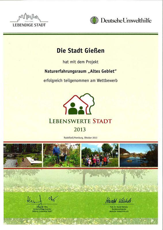 Wettbewerb Lebenswerte Stadt 2013 - Urkunde LA21-Gruppe Natur- und Umweltschutz