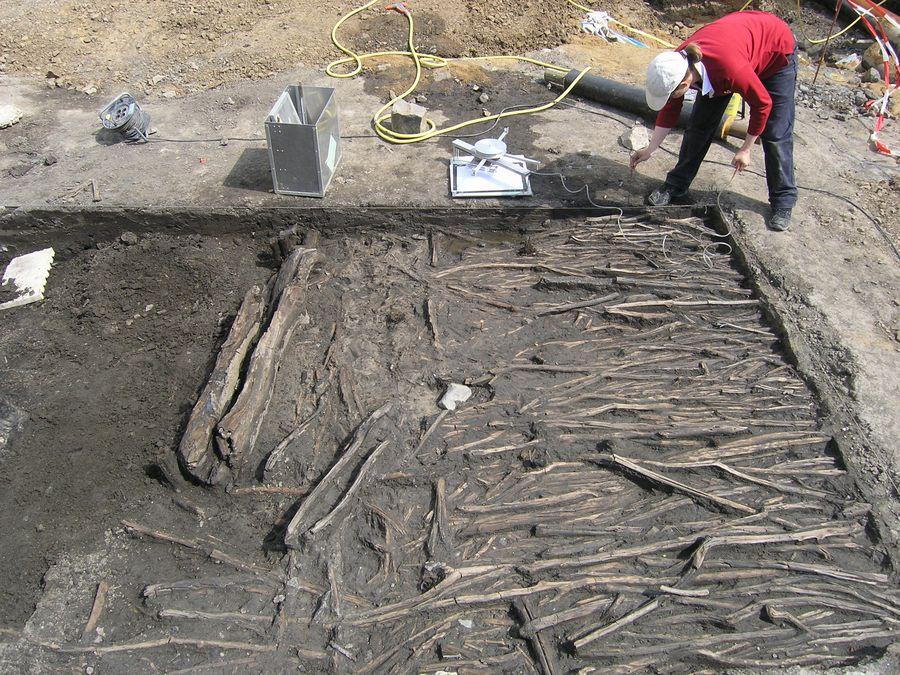Ausgrabungen  Marktplatz - freigelegte Hölzer aus dem Jahr 1180