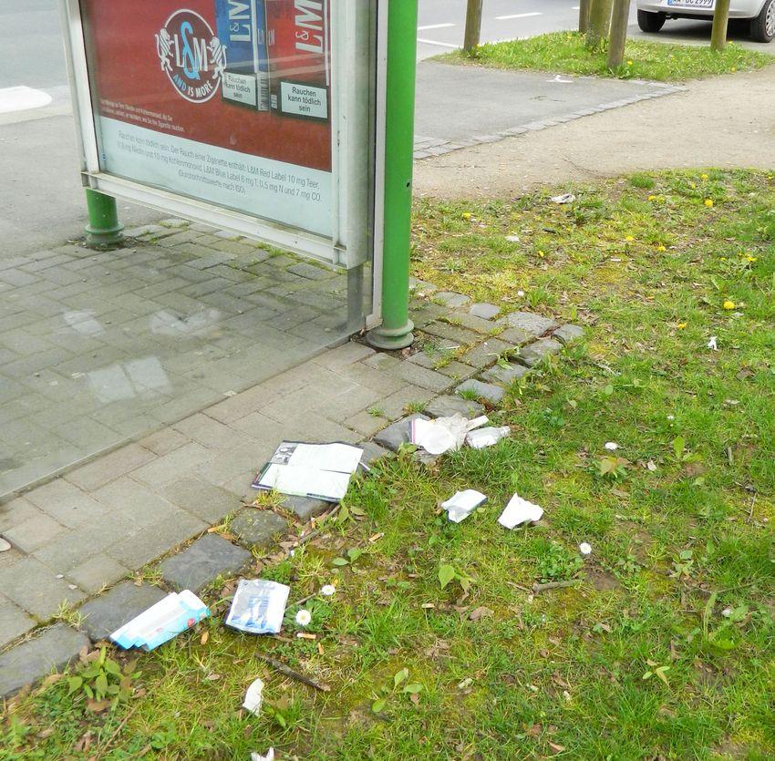 Müll an der Bushaltestelle Sudetenstraße