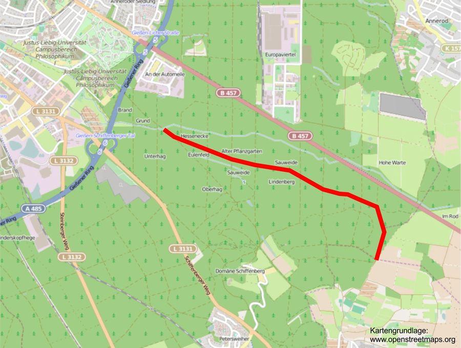 Karte Verlauf Trinkwasserleitung Giessen Lich Stadt Giessen