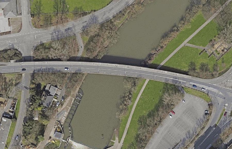 Konrad-Adenauer-Brücke - Luftaufnahme
