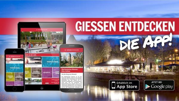 Externer Link: Gie�en entdecken - die App - Werbeplakat mit der Lahn im Vordergrund und einem Restaurant im Hintergrund