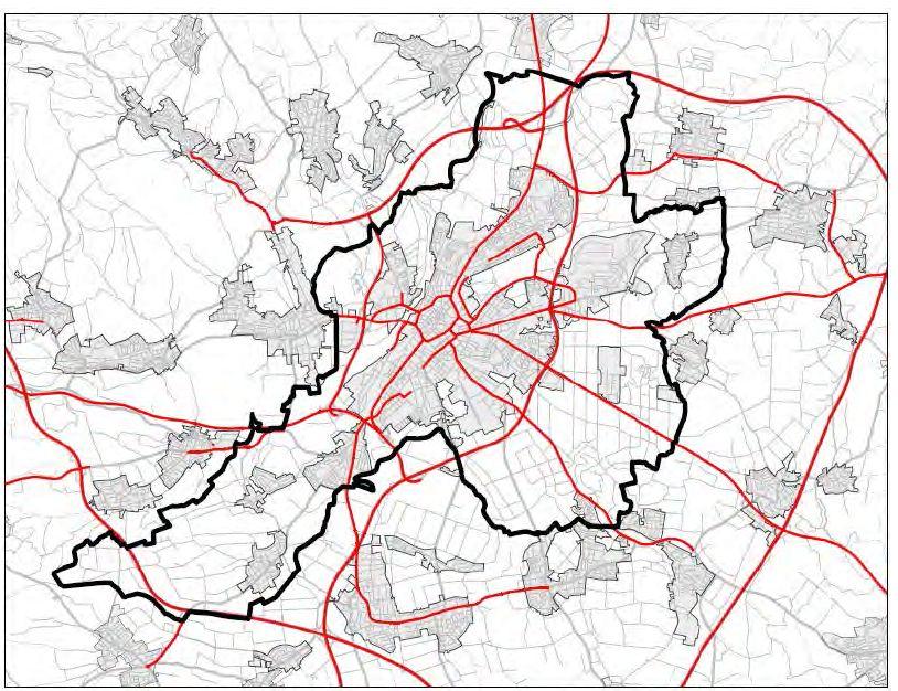 Kartierte Straßen mit über 8000 Kfz pro Tag - Übersicht