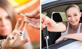 Sucht-Kampagne des Präventionsrates - eine Frau greift nach einem Joint - die andere nach einem Autoschlüssel