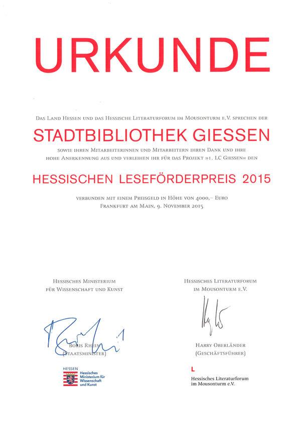 Hessischer Lesefoerderpreis 2015