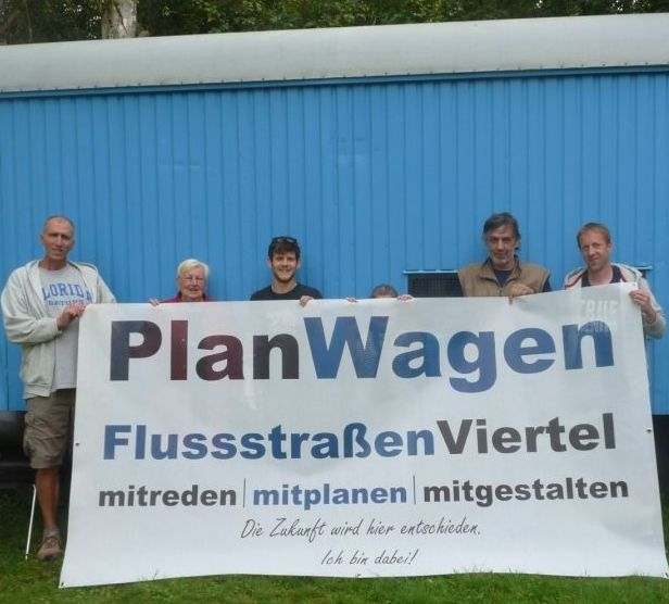 PlanWagen im Flußstraßenviertel als Bürgertreff