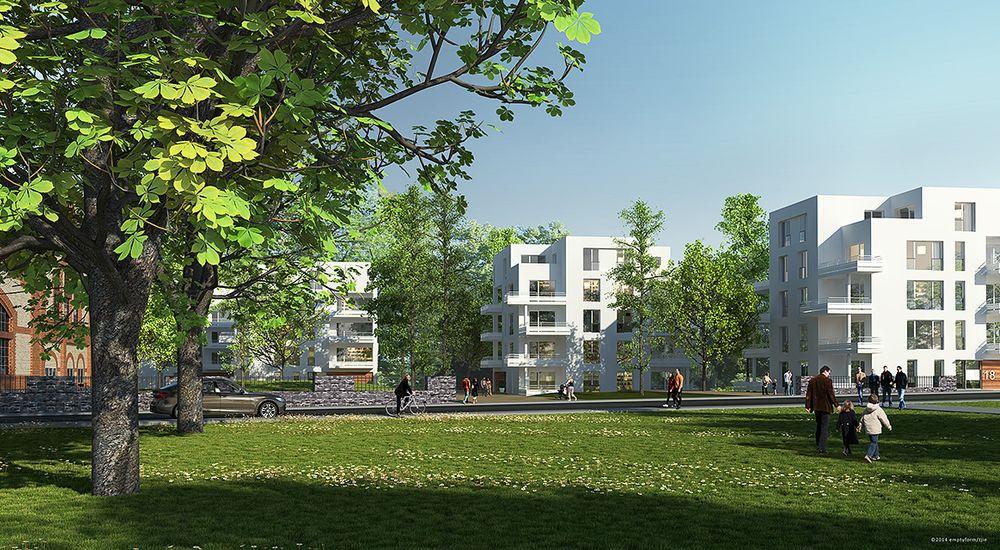 Wohnraumversorgungskonzept - Mehrfamilienhäuser hinter einer Grünfläche - animiert