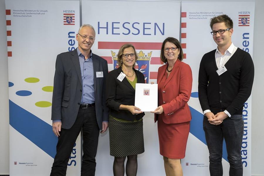 Dr. Holger Hölscher, OB Dietlind Grabe-Bolz, Staatsministerin Priska Hinz und Daniel Gottlieb