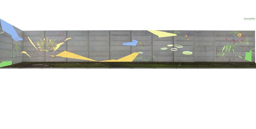 Entwurf Blumengießen für Gestaltung Parkhauswand