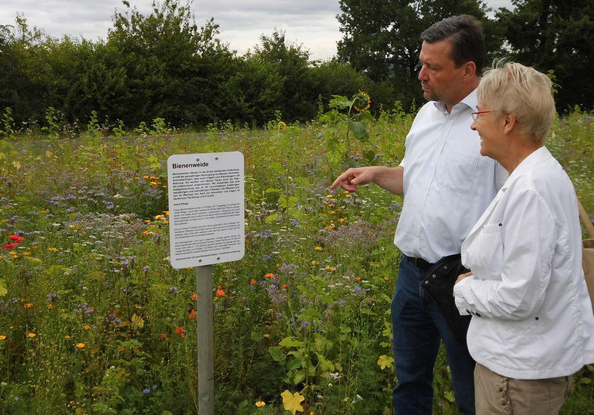 Roland Kauer und Bürgermeisterin Gerda Weigel-Greilich vor der Bienenweide