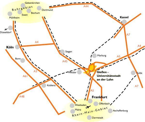 Karte Verkehrsanbindung Gießen