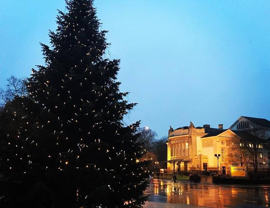 Stadttheater mit Weihnachtsbaum im Vordergrund