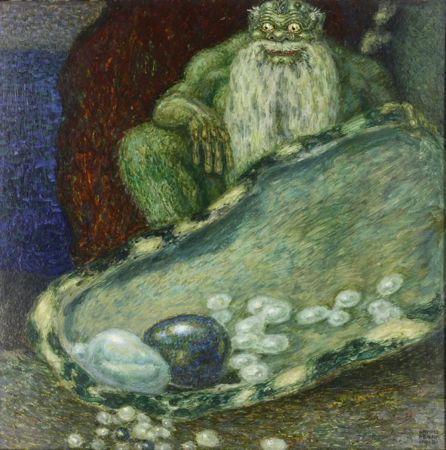 Hanns Pellar: Perlenkönig, (Öl) Tempera/Pappe, 1910