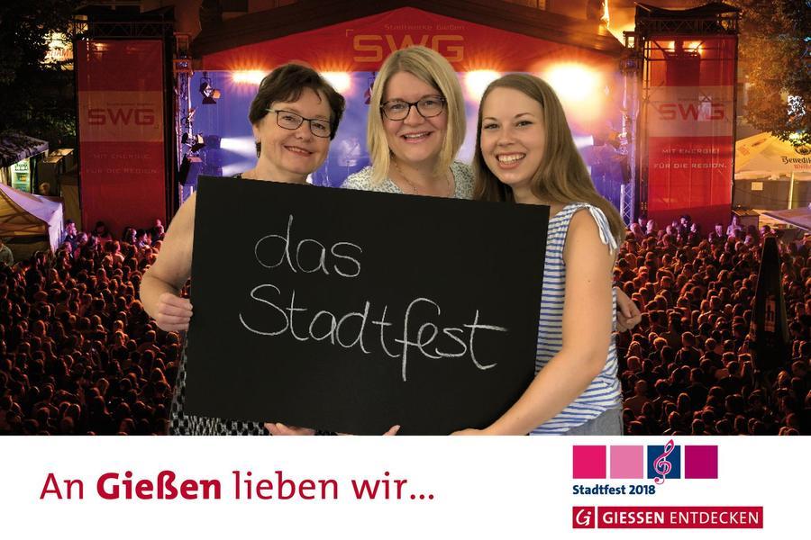 Fotobox beim Stadtfest - Mitarbeiterinnen von Gießen entdecken