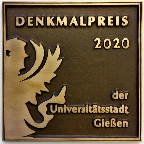 Plakette Denkmalpreis der Universitätsstadt Gießen