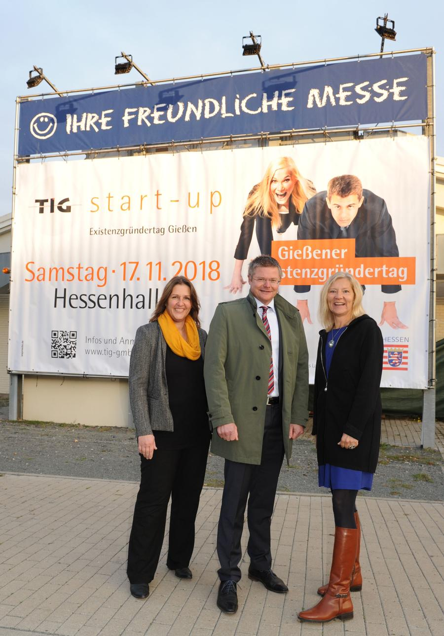 TIG-Geschäftsführerin Antje Bienert, Stadtrat Peter Neidel  und Landrätin Anita Schneider (v.l.n.r.)  bewerben mit dem 5. Gießener Existenzgründertag auch Gießen als dynamische Gründerregion mit vielfältigen Unterstützungsangeboten