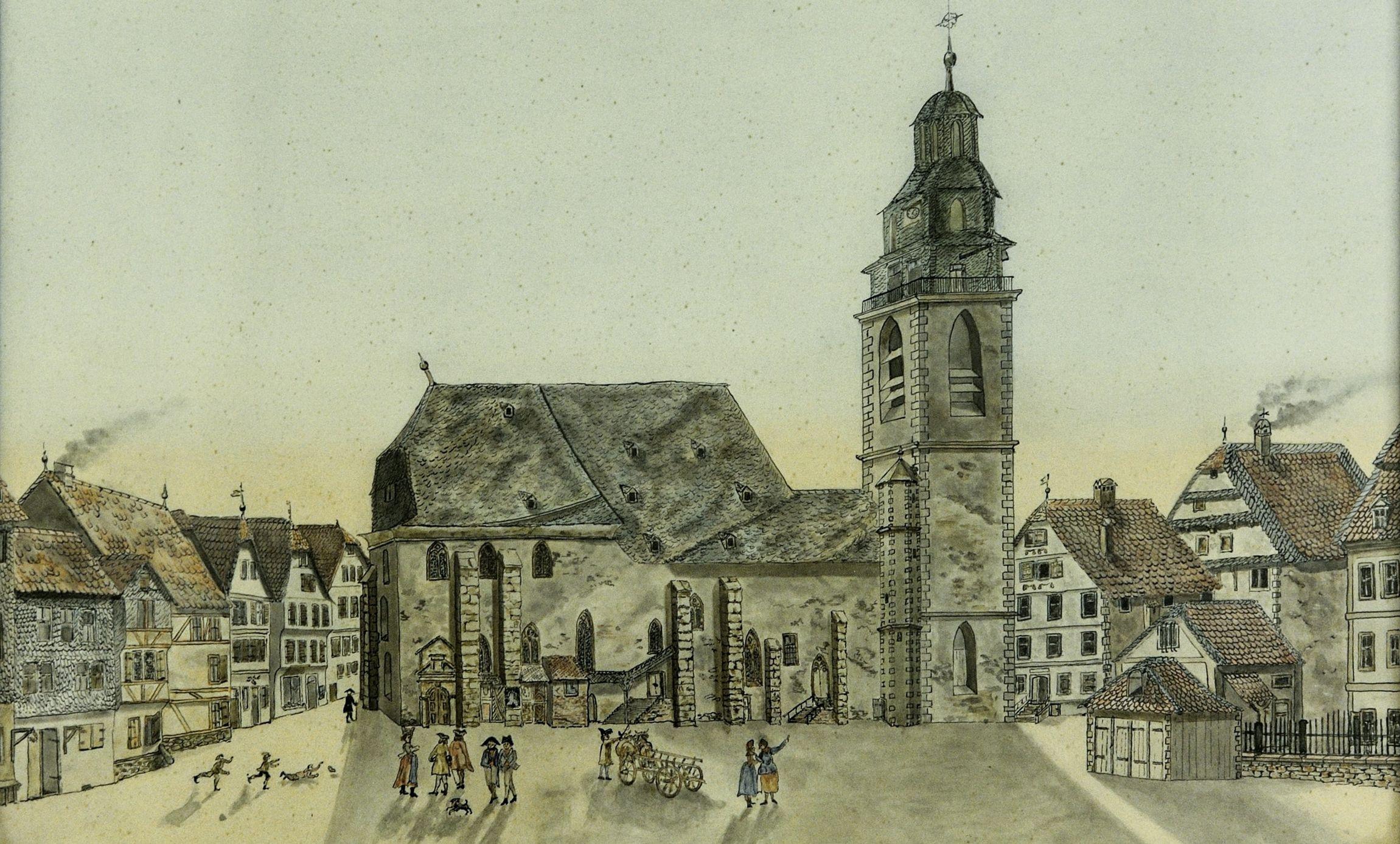 Stadtkirche Federzeichnung aquareliert um 1840