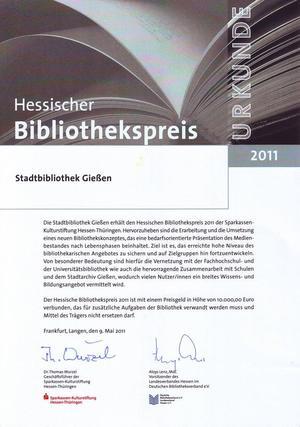 Hessischer Bibliothekspreis 2011